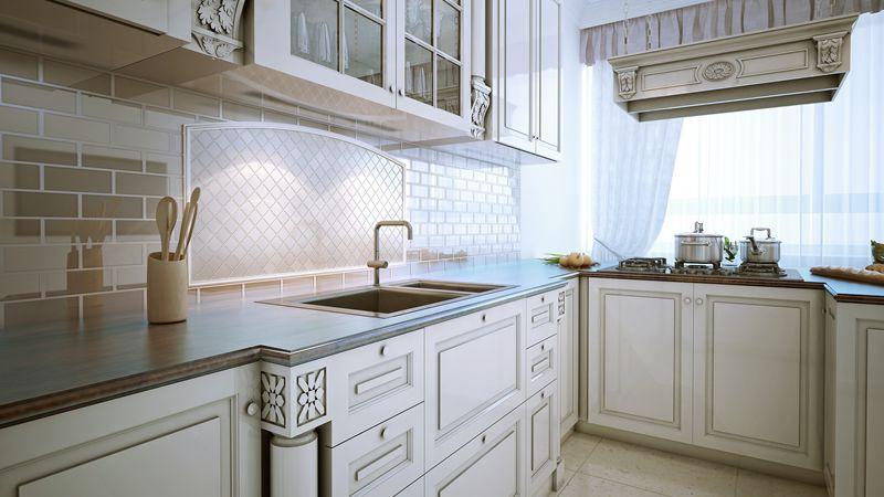 L shape small kitchen
