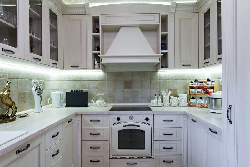 u shape small kitchen