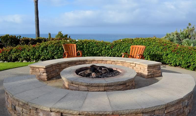 custom stone brick fire pit