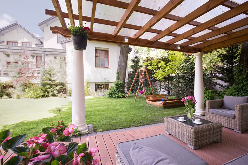 attached pergola on patio
