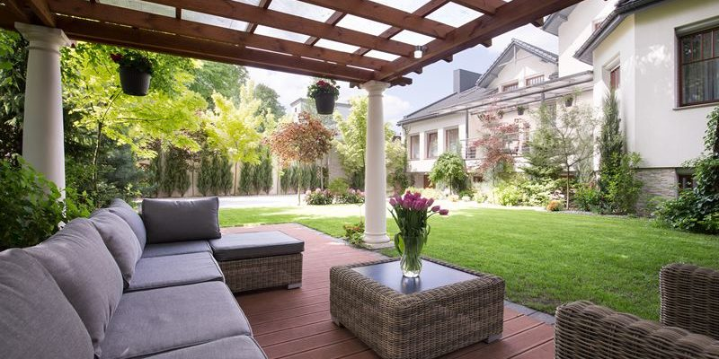 custom patio with pergola garden