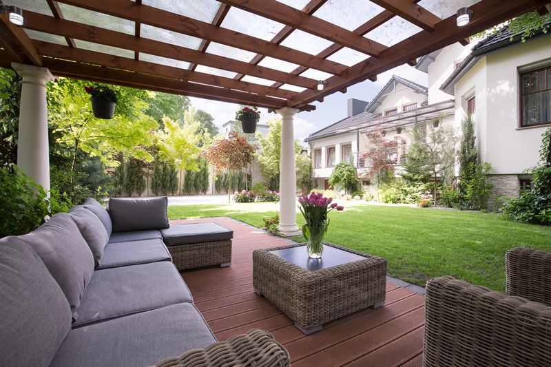 custom patio with pergola garden